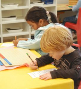 students work on writing skills
