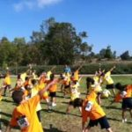 Montessori students exercising