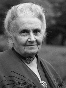 Black and white picture of Maria Montessori