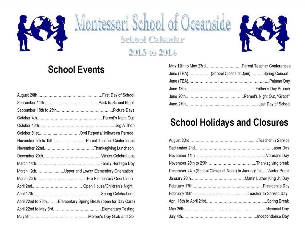school calendar 2013 2014 1024x791 Montessori School of Oceanside Calendar