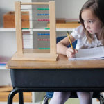 Montessori student learning