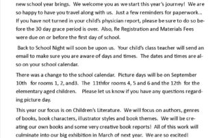 Montessori Back to school letter