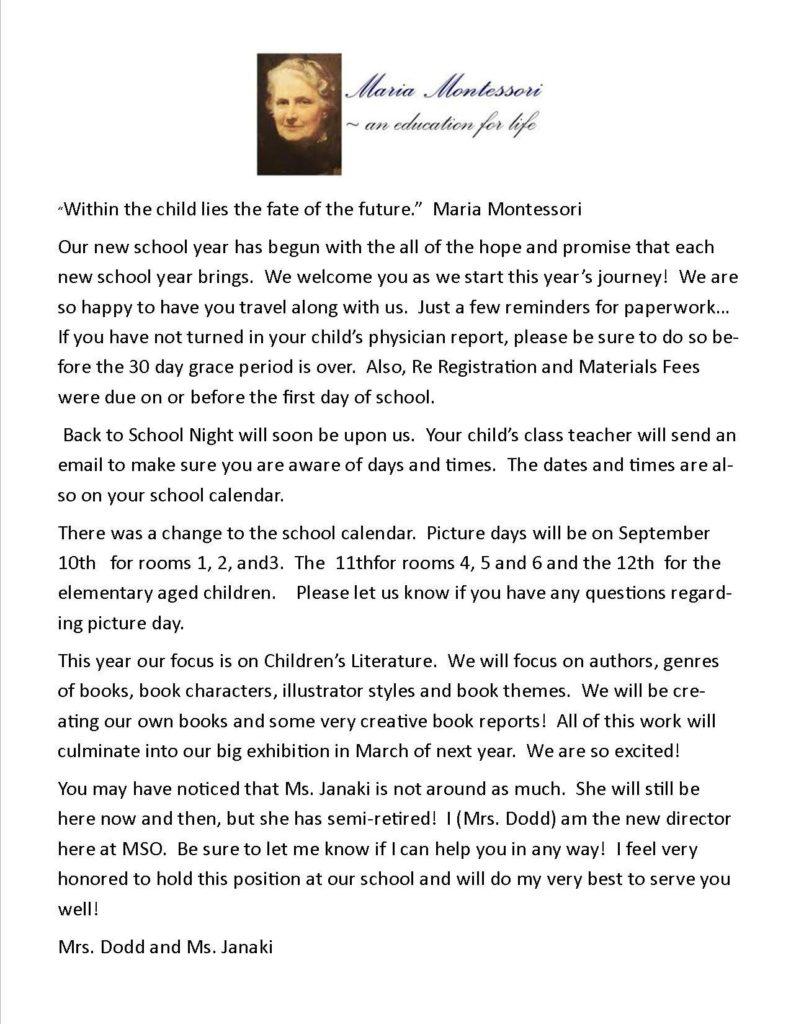 Montessori Back to school letter