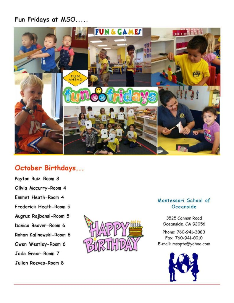 MSO October 2014 Newsletter. October Birthdays