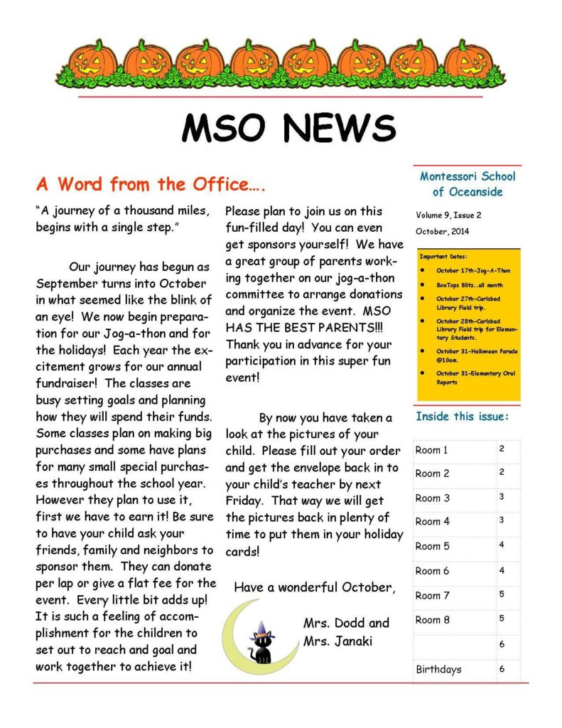 MSO October 2014 Newsletter. A Word from the Office