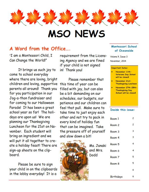 MSO November 2014 Newsletter. A Word from the Office