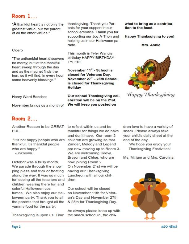 MSO November 2014 Newsletter. Room 1 and Room 2
