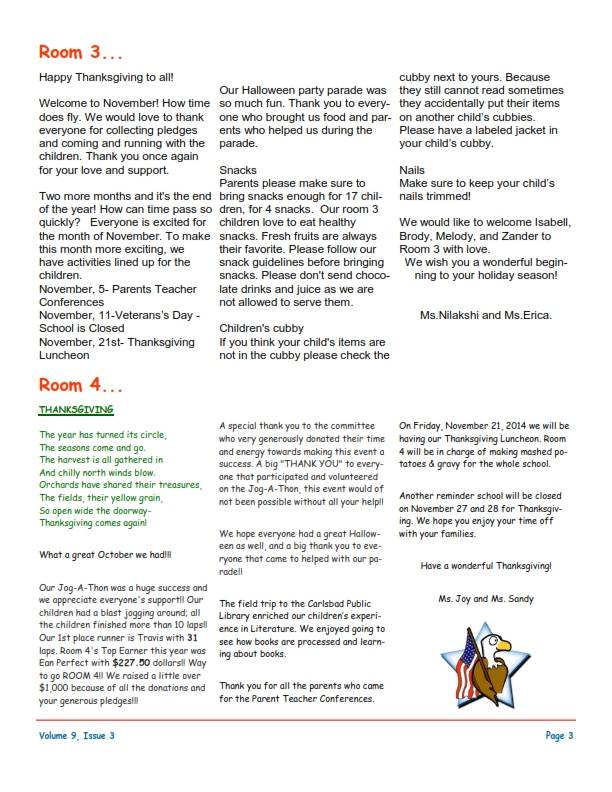MSO November 2014 Newsletter. Room 3 and Room 4