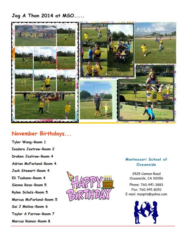 MSO November 2014 Newsletter. November Birthdays