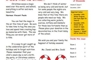 MSO December 2014 Newsletter. A Word from the Office