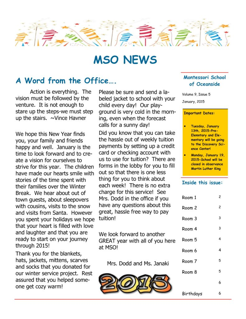 MSO January 2015 Newsletter. A Word from the Office