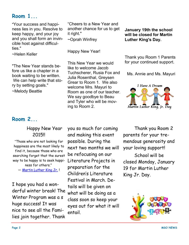 MSO January 2015 Newsletter. Room 1 and Room 2