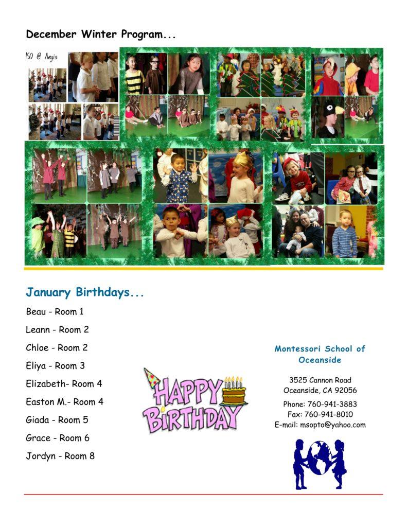 MSO January 2015 Newsletter. January Birthdays