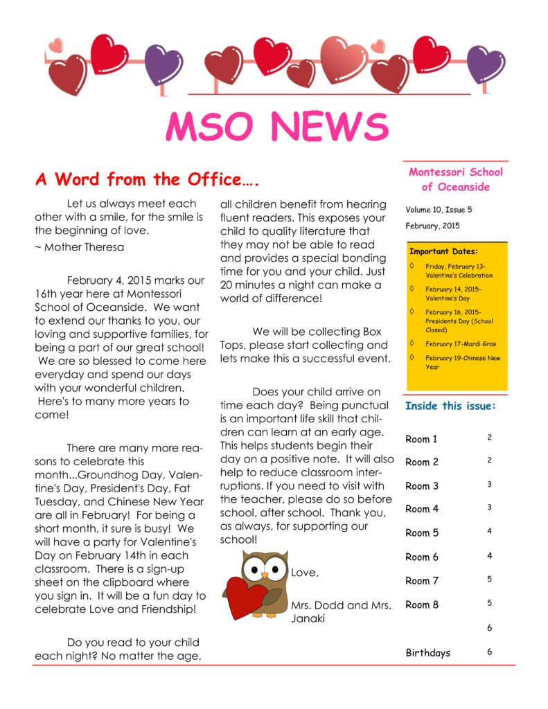 MSO February 2015 Newsletter. A Word from the Office
