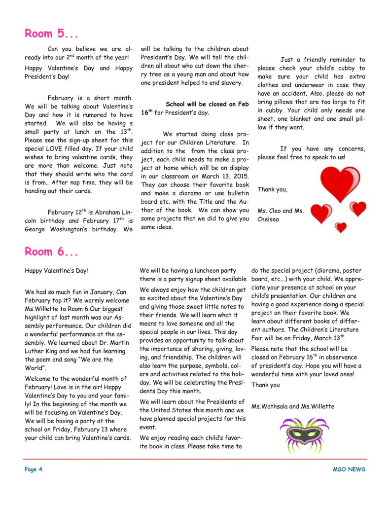MSO February 2015 Newsletter. Room 5 and Room 6