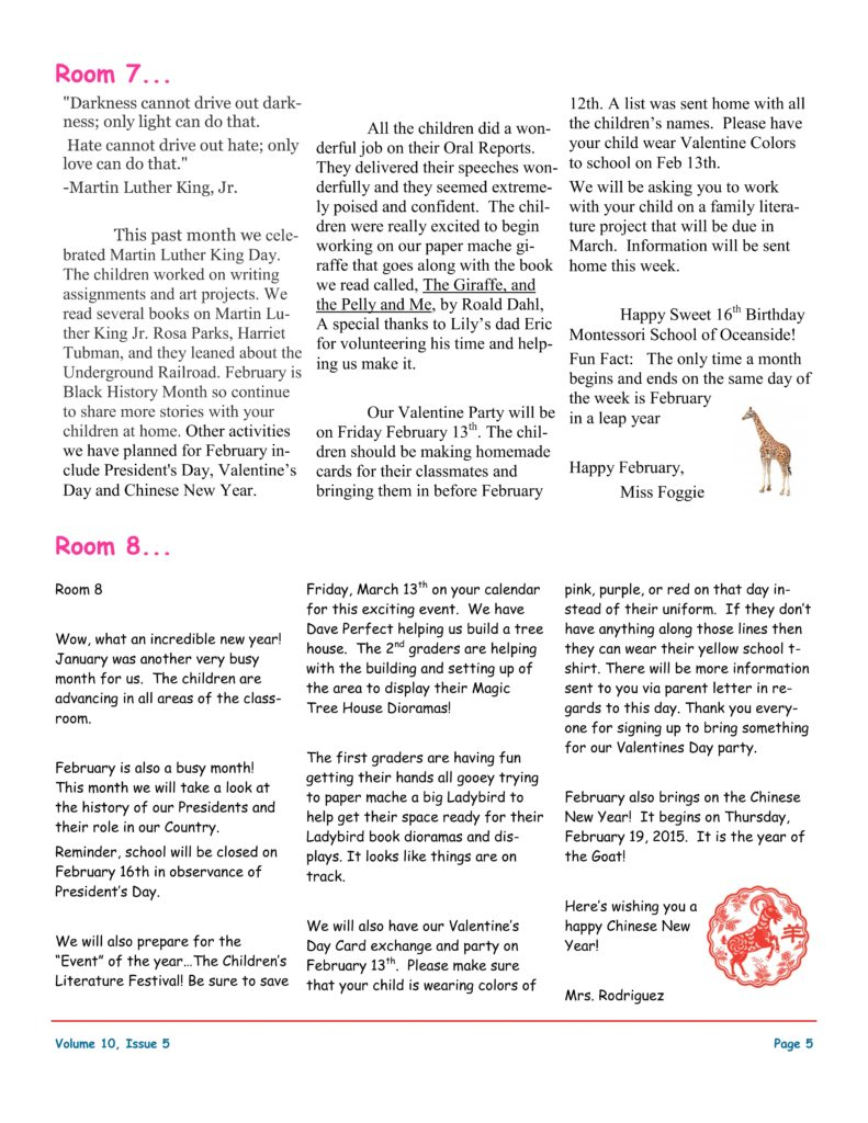 MSO February 2015 Newsletter. Room 7 and Room 8