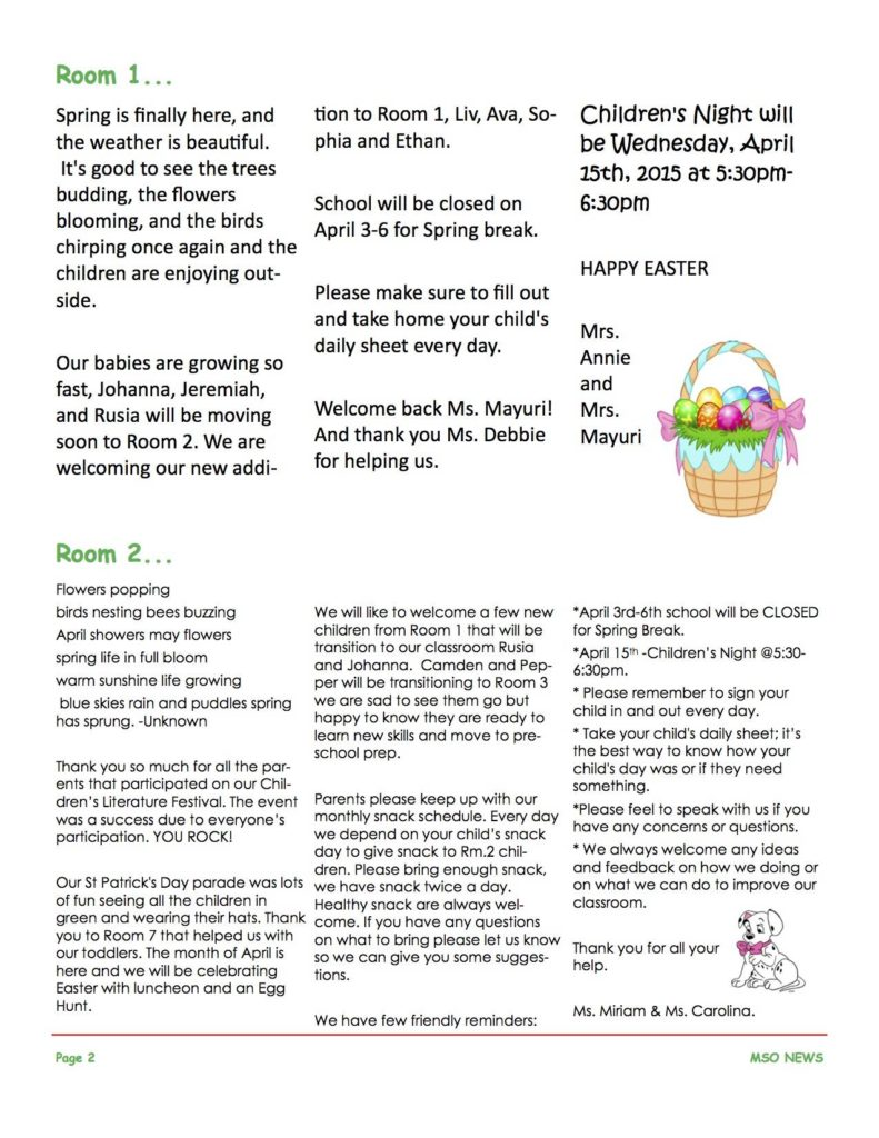 MSO April 2015 Newsletter. Room 1 and Room 2