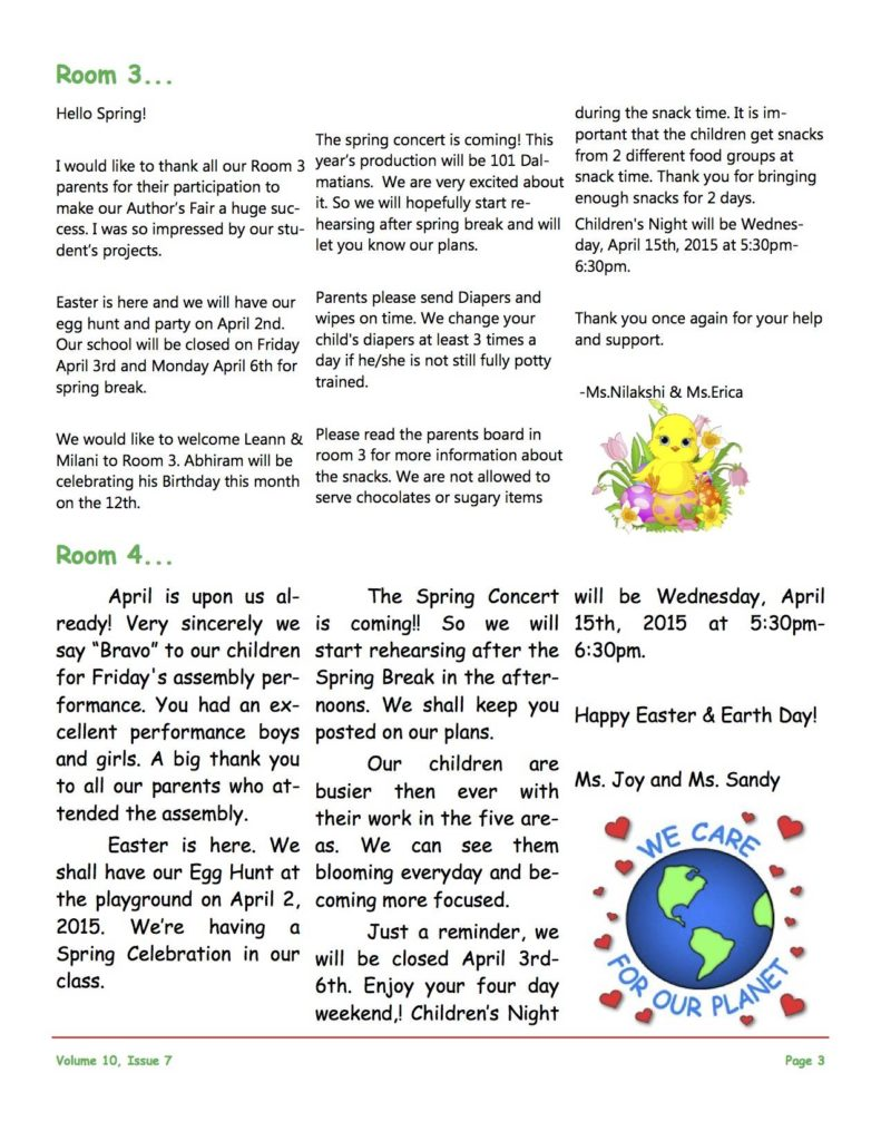 MSO April 2015 Newsletter. Room 3 and Room 4