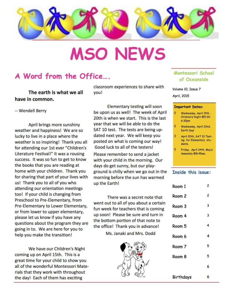 MSO April 2015 Newsletter. A Word from the Office