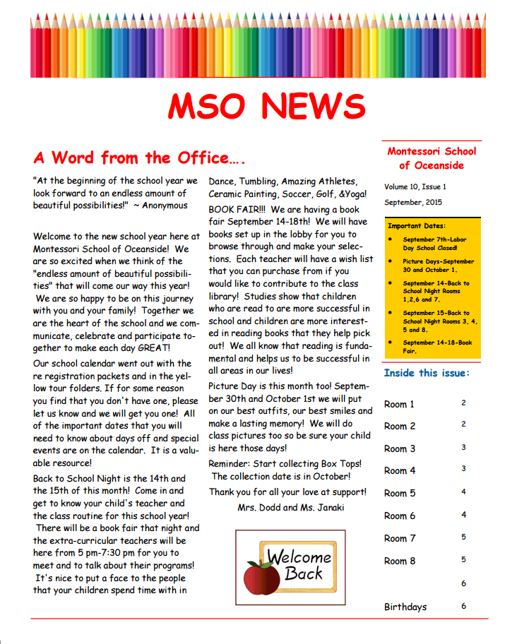 MSO September News A Word From The Office