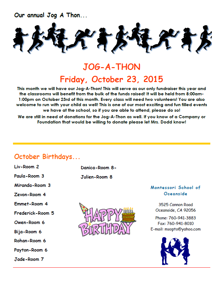 MSO October 2015 Newsletter. October Birthdays