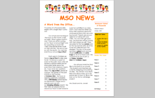 MSO October 2015 Newsletter. A Word from the Office