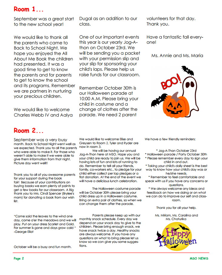 MSO October 2015 Newsletter. Room 1 and Room 2