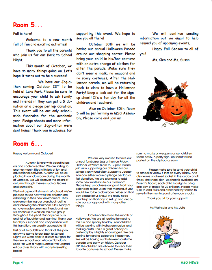 MSO October 2015 Newsletter. Room 5 and Room 6