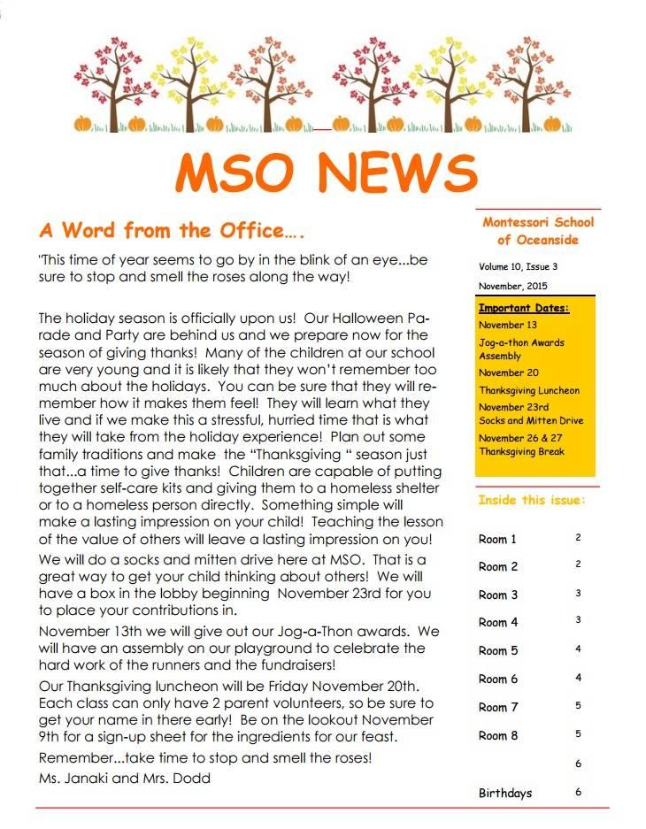 MSO November 2015 Newsletter