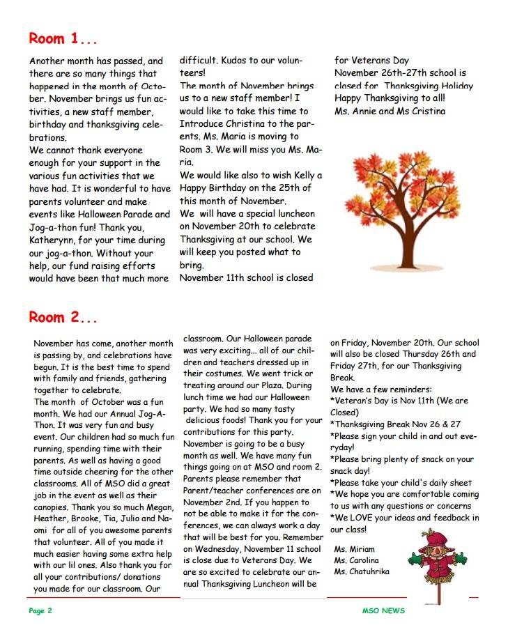 MSO November 2015 Newsletter. Room 1 and Room 2