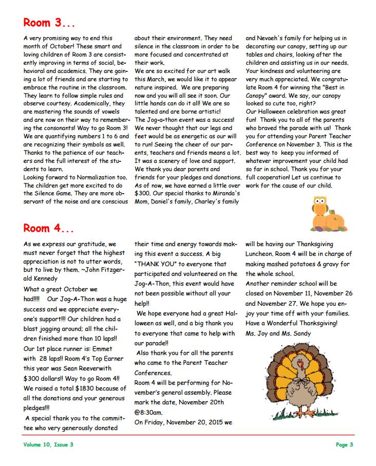 MSO November 2015 Newsletter. Room 3 and Room 4