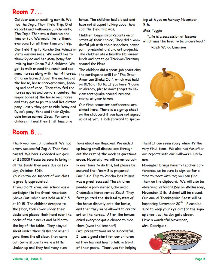 MSO November 2015 Newsletter. Room 7 and Room 8