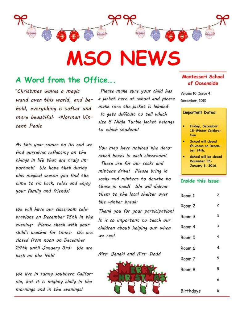 MSO December 2015 Newsletter