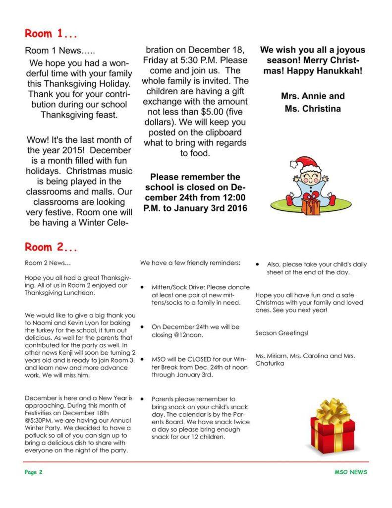 MSO December 2015 Newsletter. Room 1 and Room 2