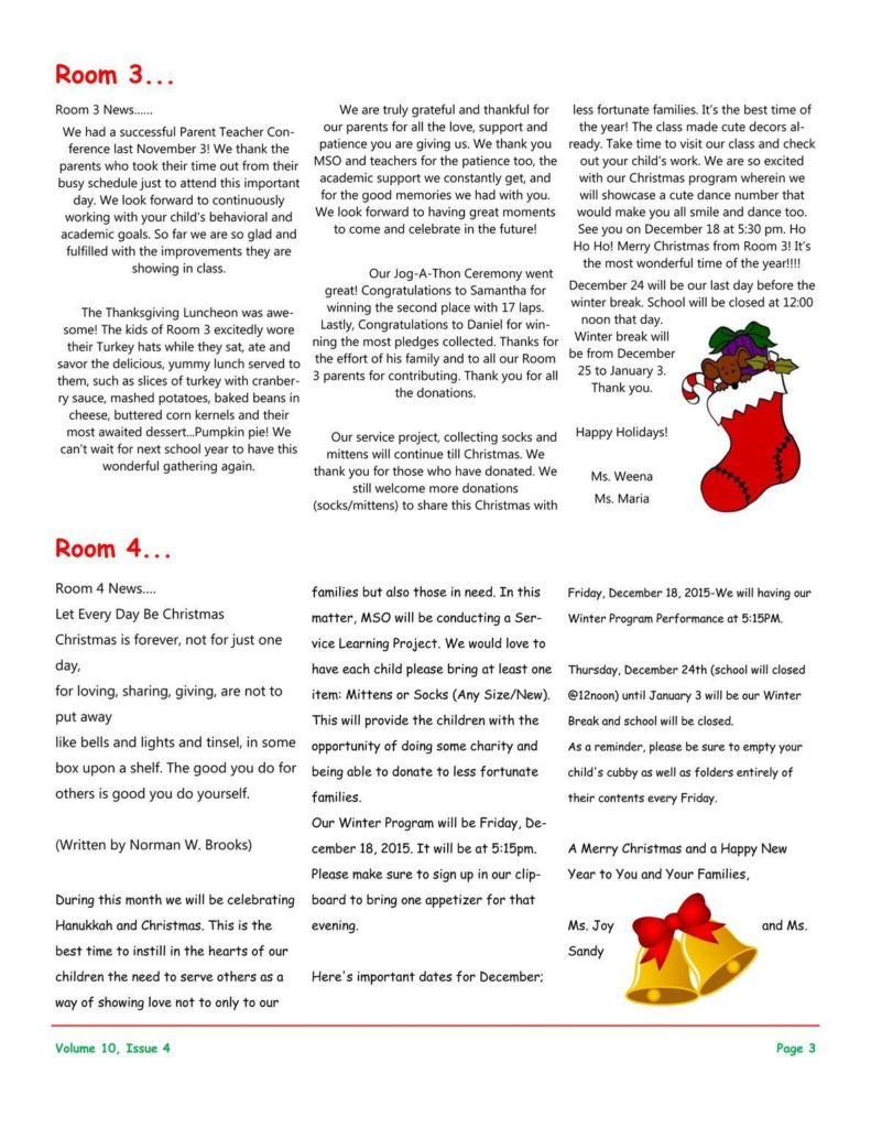 MSO December 2015 Newsletter. Room 3 and Room 4
