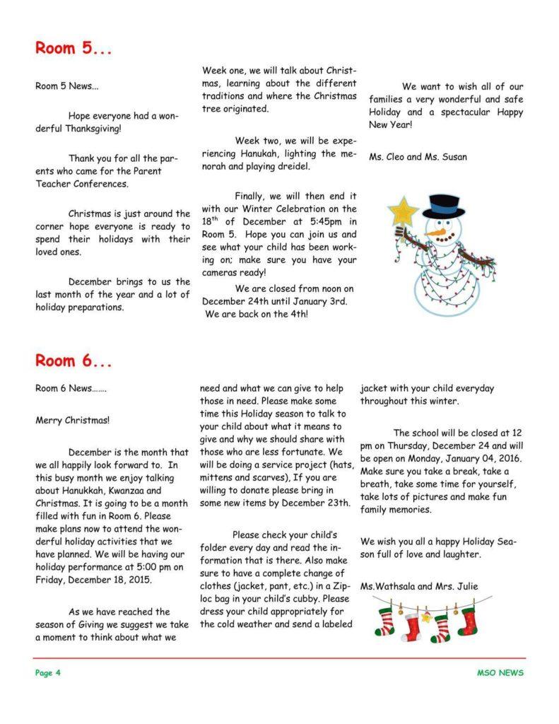 MSO December 2015 Newsletter. Room 5 and Room 6