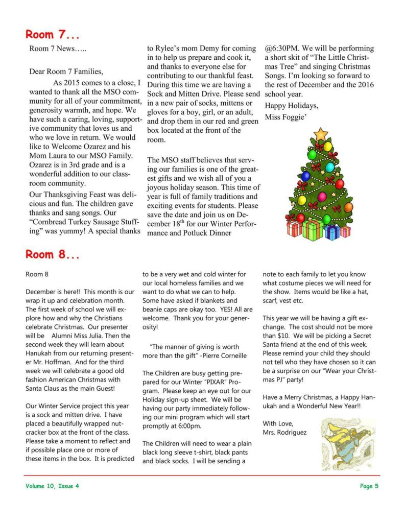 MSO December 2015 Newsletter. Room 7 and Room 8
