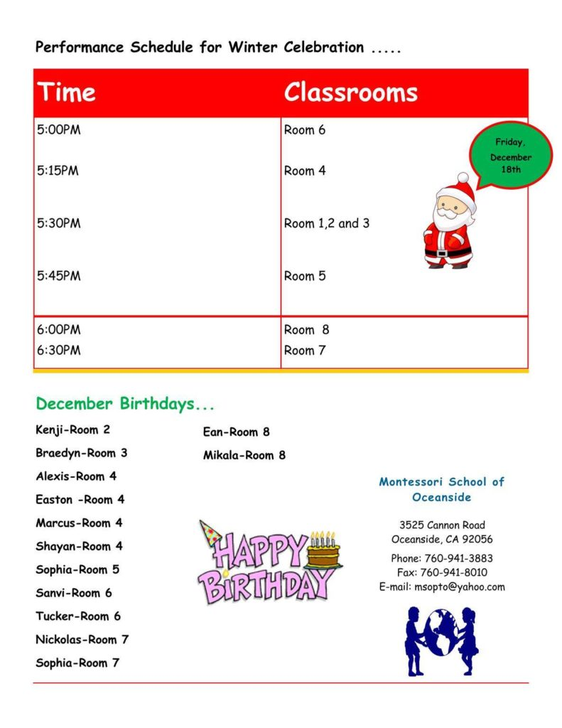 MSO December 2015 Newsletter. Performance Schedule for Winter Celebration