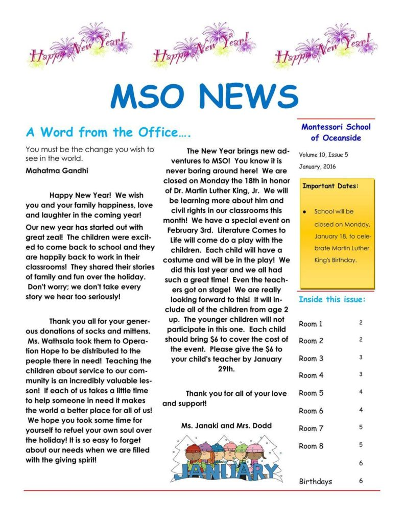 MSO January 2016 Newsletter