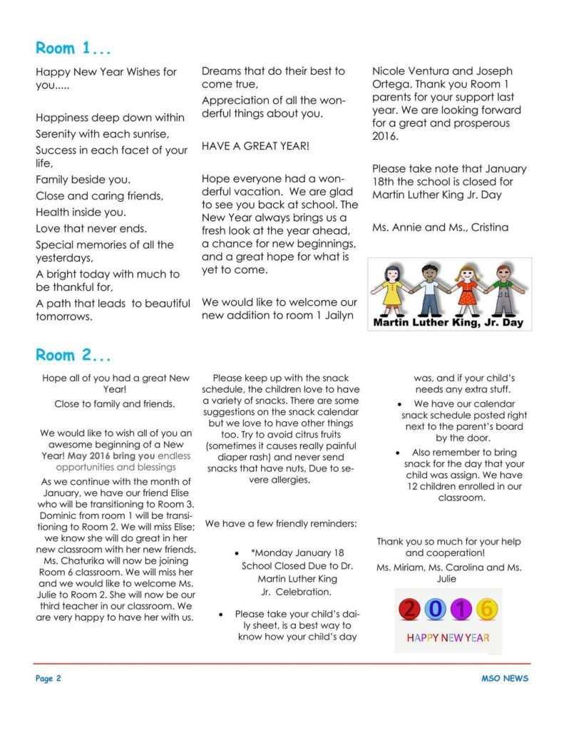 MSO January 2016 Newsletter. Room 1 and Room 2