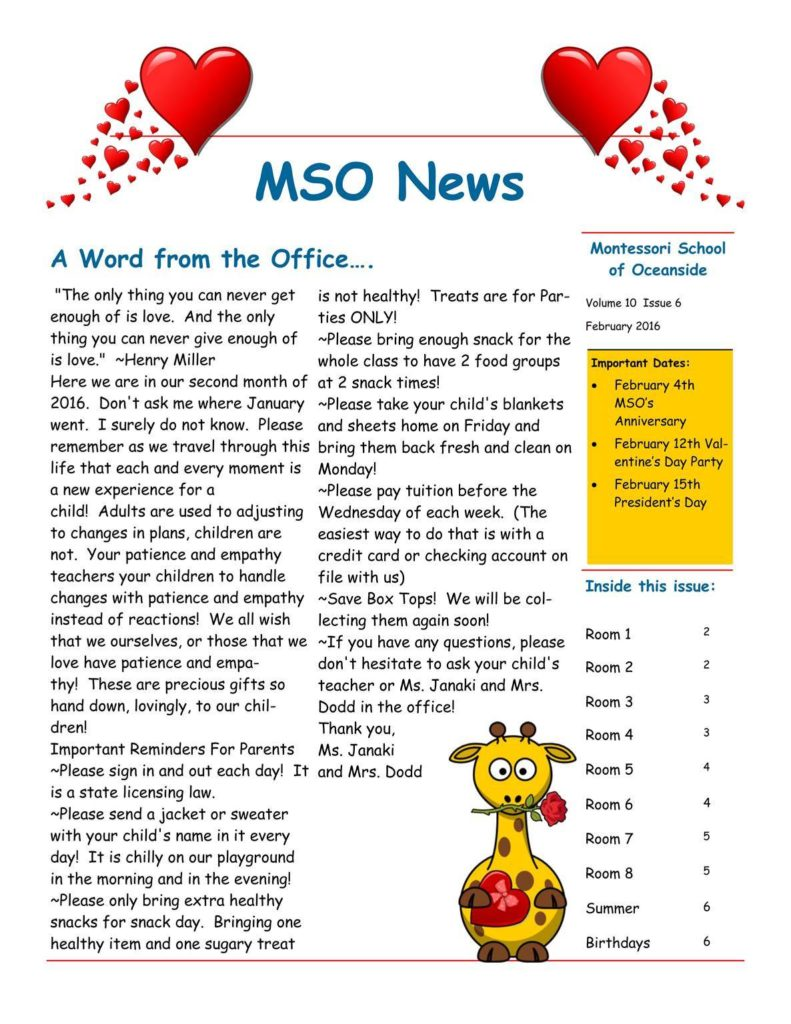 MSO February 2016 Newsletter. A Word from the Office