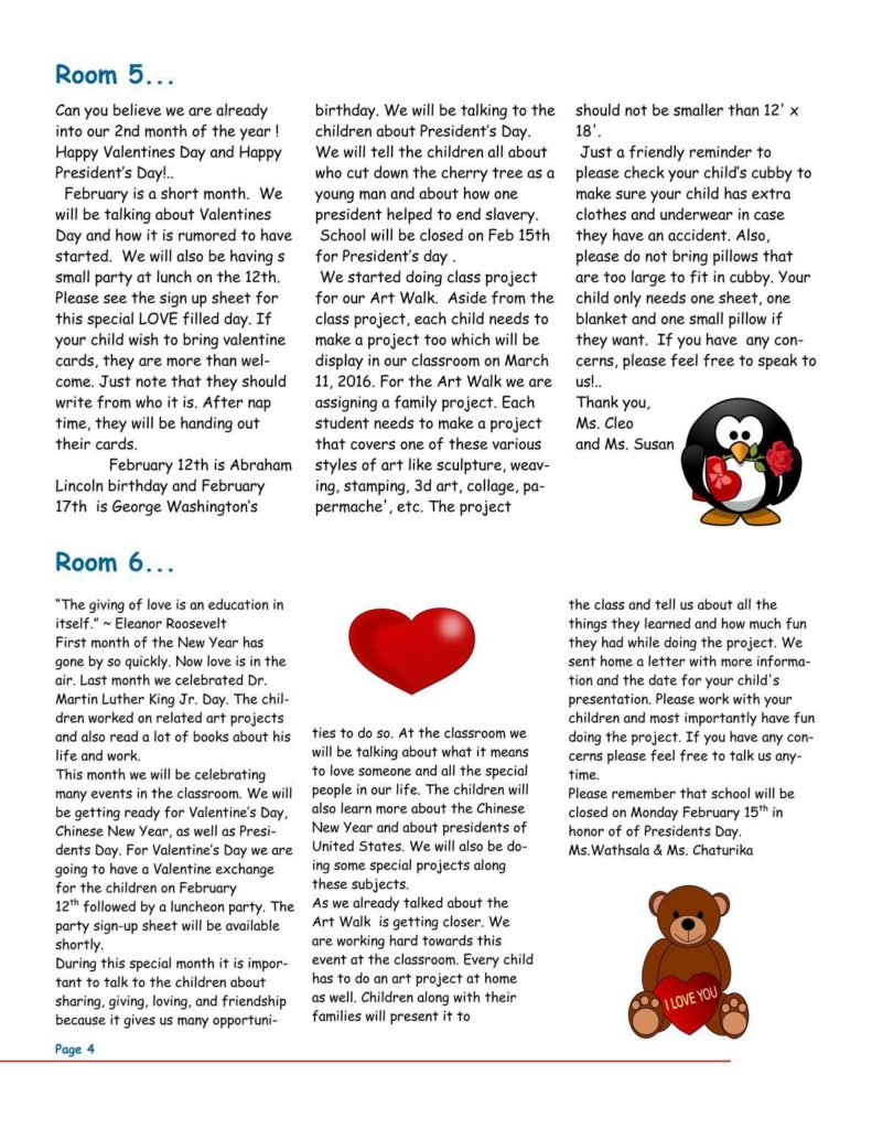 MSO February 2016 Newsletter. Room 5 and Room 6