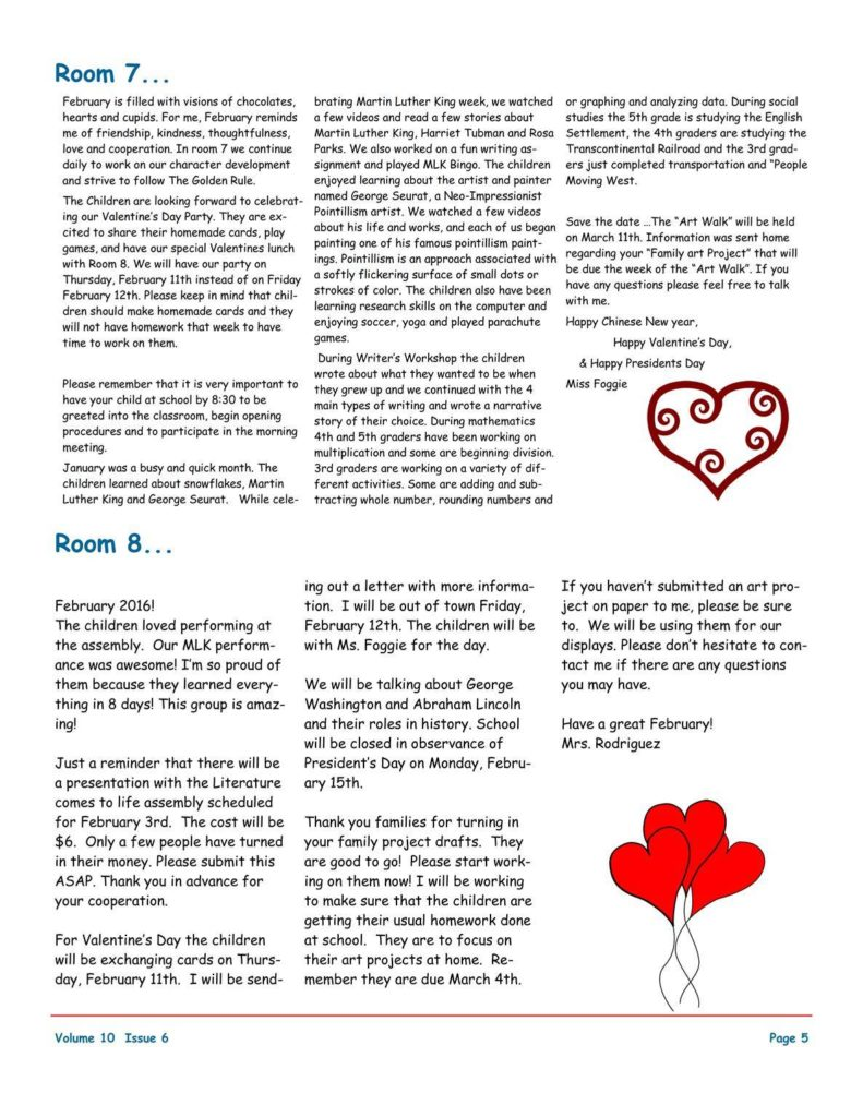 MSO February 2016 Newsletter. Room 7 and Room 8