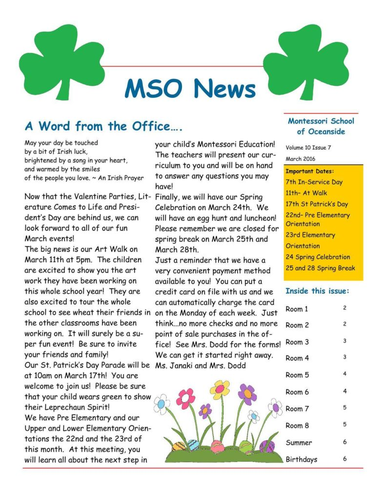 MSO March 2016 Newsletter. A Word from the Office