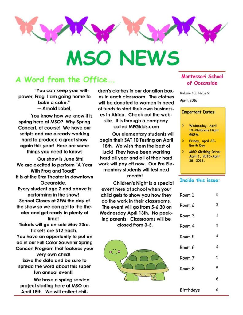MSO April 2016 Newsletter. A Word from the Office