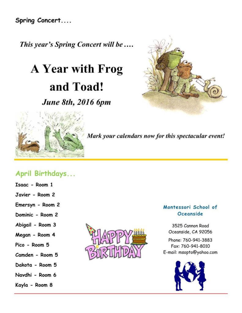 MSO April 2016 Newsletter. A Year with Frog and Toad