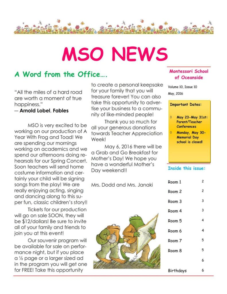 MSO May 2016 Newsletter. A Word from the Office