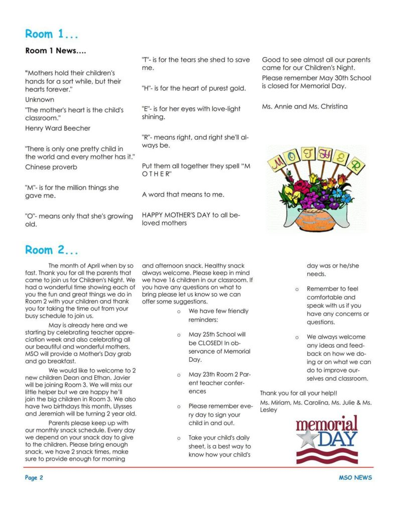 MSO May 2016 Newsletter. Room 1 and Room 2