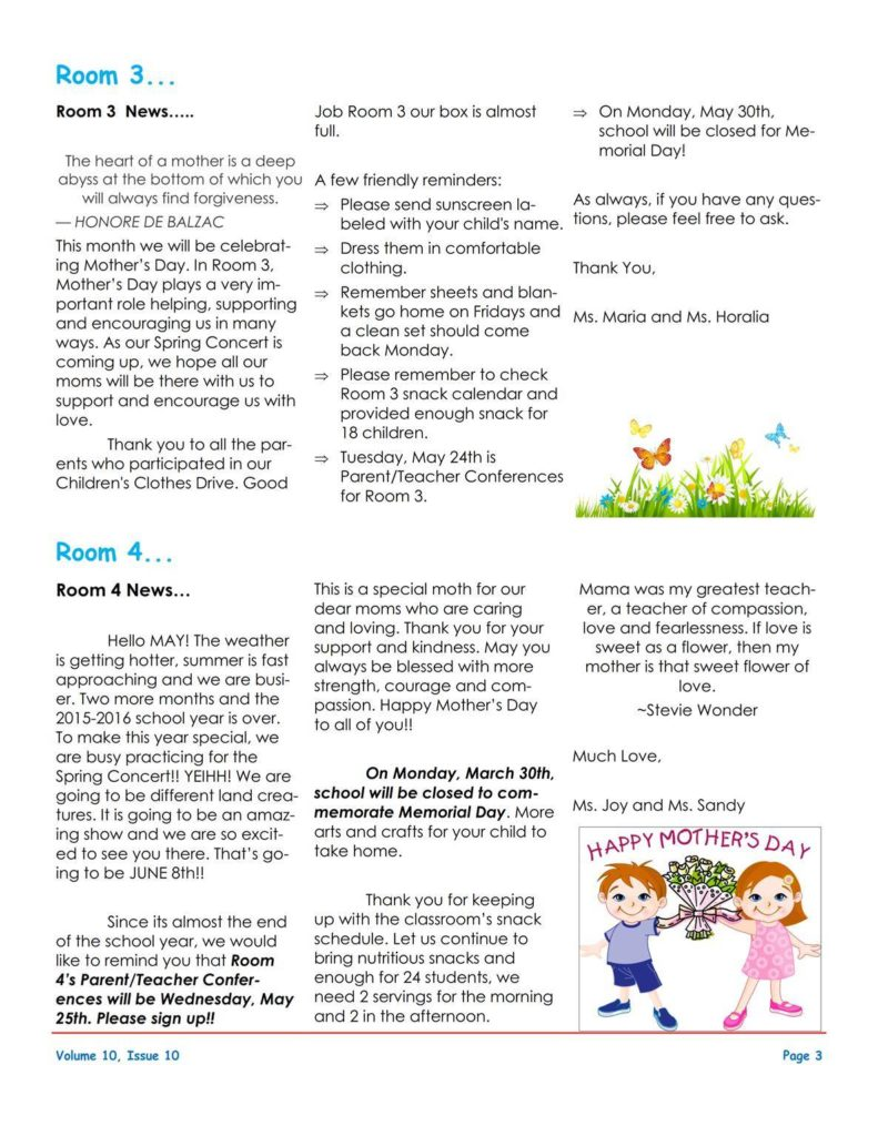MSO May 2016 Newsletter. Room 3 and Room 4
