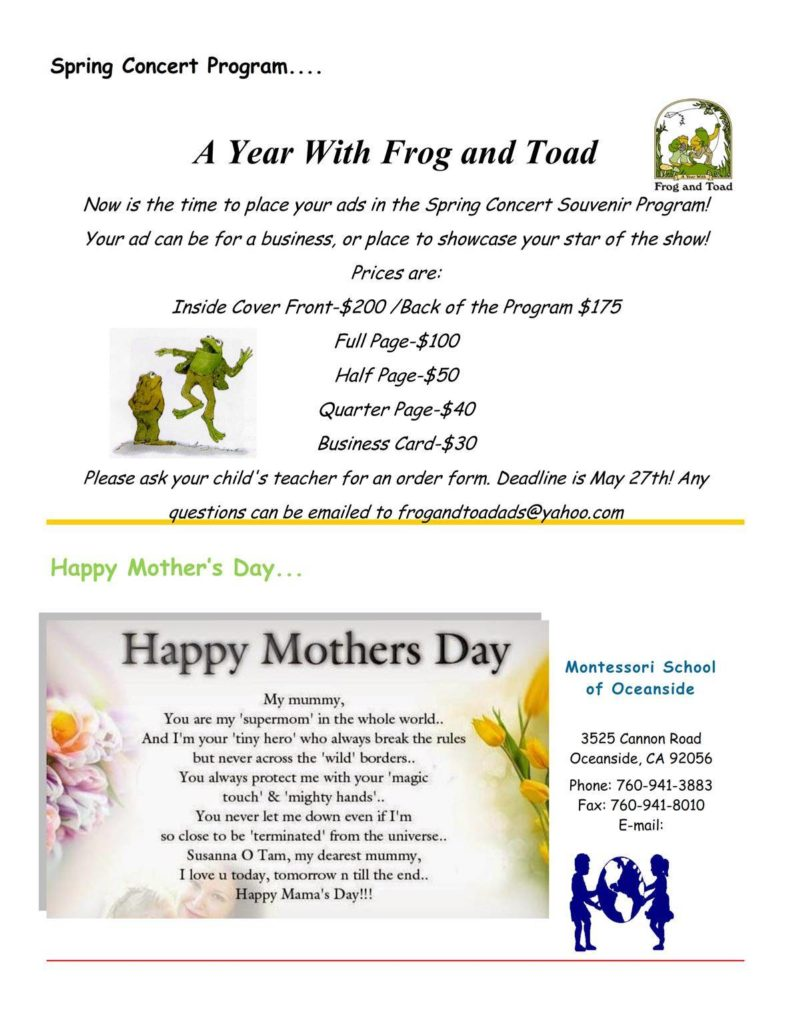 MSO May 2016 Newsletter. A year with Frog and Toad